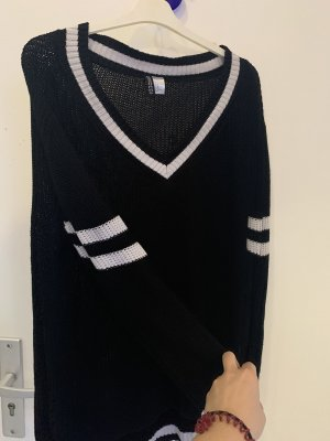 H&M Coarse Knitted Sweater white-black