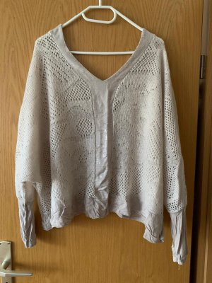 Made in Italy Crochet Sweater oatmeal
