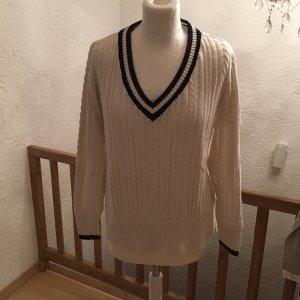 Peckott V-Neck Sweater natural white-dark blue