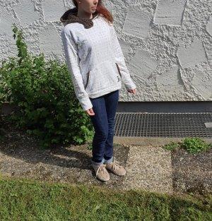 Tchibo / TCM Maglione con cappuccio bianco sporco-grigio-verde