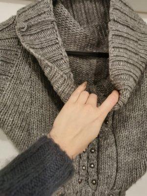 Best emilie Sweter z krótkim rękawem szary-jasnoszary