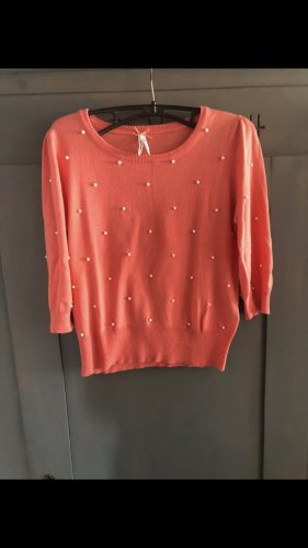 Pulli coralle Gr. 36 S mit Perlen lachs apricot Pullover, Top Shirt