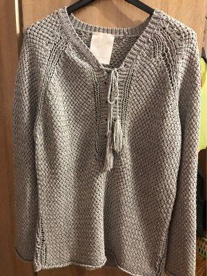 S.Oliver Premium Sweter z grubej dzianiny srebrny