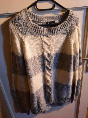 Athmosphere Warkoczowy sweter biały-jasnoszary