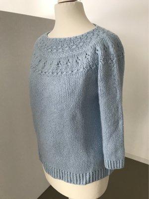 Handmade Wool Sweater azure wool