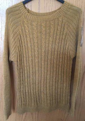 Made in Italy Warkoczowy sweter jasnobrązowy Poliakryl