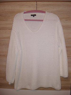 0039 Italy Sweter z grubej dzianiny biały Tkanina z mieszanych włókien