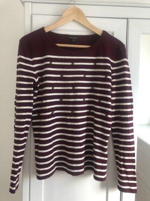 Massimo Dutti Cienki sweter z dzianiny biały-bordo