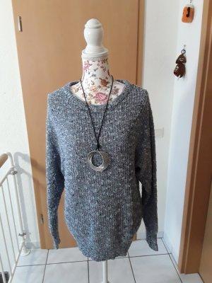 Rainbow Coarse Knitted Sweater azure