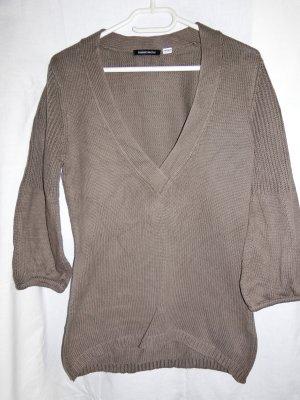3 Suisses Jersey con cuello de pico marrón grisáceo