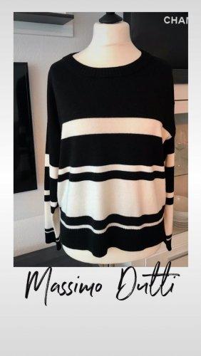 Massimo Dutti Oversized trui wit-zwart Wol