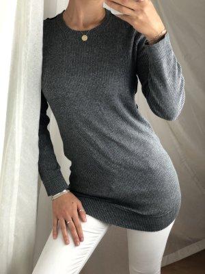 Pulli Pullover grau schwarz Ripp langarm