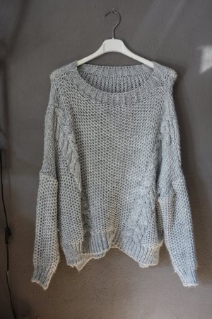 Pulli, Pullover, Made in Italy, grau, Zopfmuster, oversize, Strickpullover