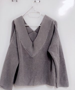 Pulli Pullover Sweater Sweatshirt Grau strick grobstrick winter na-kd