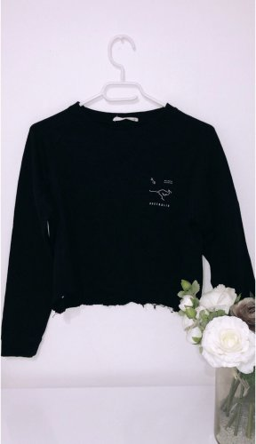 Pulli pullover sweatshirt schwarz cropped oversized crop