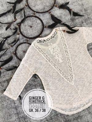 Pulli sweater Stickerei boho blogger vintage beige 36 38 Nostalgie romantisch Oberteil