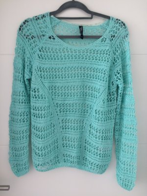 Jean Pascale Crochet Sweater turquoise-light blue polyacrylic