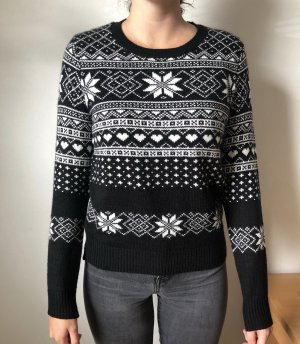 H&M Crochet Sweater black-white