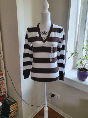 Tommy Hilfiger V-Neck Sweater white-dark brown