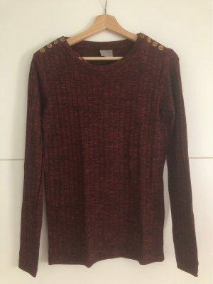 Vero Moda Sweter z dzianiny brązowo-czerwony-złoto Wiskoza