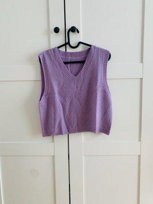 Sweter bez rękawów z cienkiej dzianiny liliowy