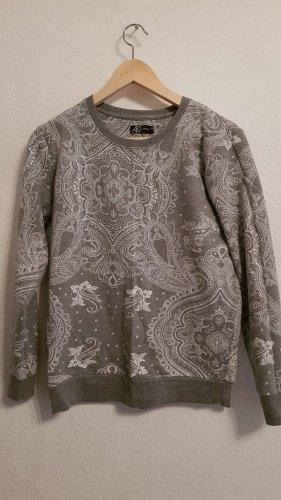 Ann Christine Kraagloze sweater wit-lichtgrijs