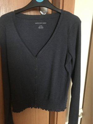 American Eagle Outfitters Pull col en V gris anthracite