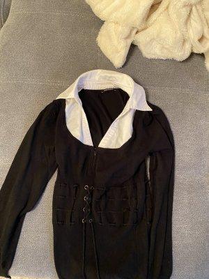 Morgan Jersey con cuello de pico negro-blanco