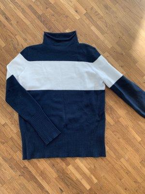 French Connection Jersey de cuello alto blanco-azul