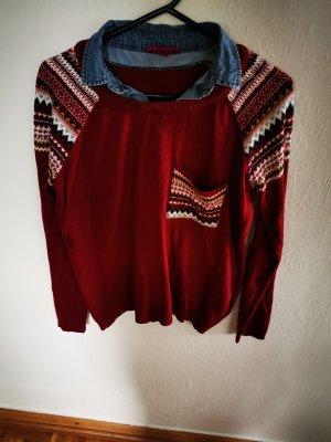 (The Mercer) NY Pull tricoté rouge carmin-bleu