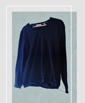 Christian Berg V-Neck Sweater dark blue cotton