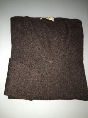 0039 Italy Kaszmirowy sweter ciemnobrązowy