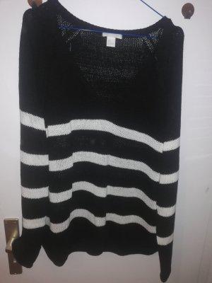 H&M Jersey de punto grueso blanco-negro