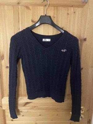 Hollister Crochet Sweater dark blue
