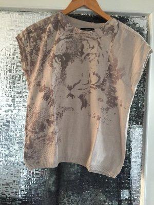 Bonita Maglione a maniche corte color cammello-marrone-nero Fibra tessile