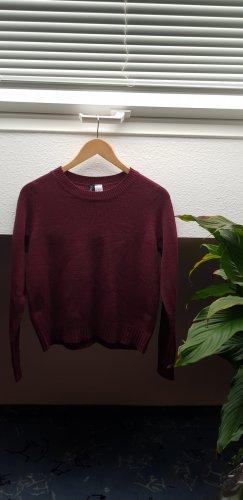 H&M Divided Fine Knit Jumper black-bordeaux
