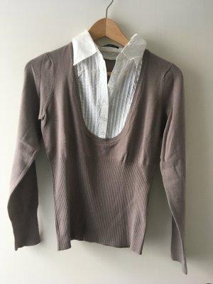 3 Suisses V-Neck Sweater light brown-natural white mixture fibre