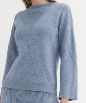 BGN Crewneck Sweater steel blue wool
