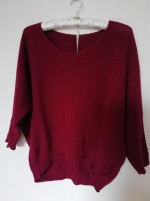 Coarse Knitted Sweater bordeaux mixture fibre