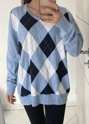 angelo litrico Kraagloze sweater azuur-blauw