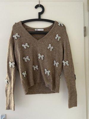 Zara Jersey con cuello de pico blanco-marrón