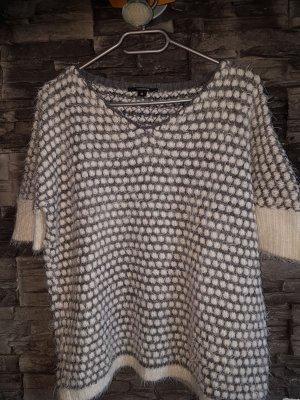 Comma Short Sleeve Sweater light grey-natural white