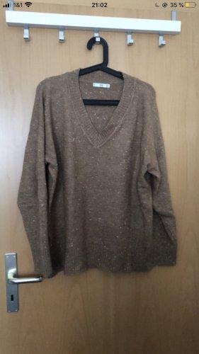 Mango V-Neck Sweater brown-white cotton