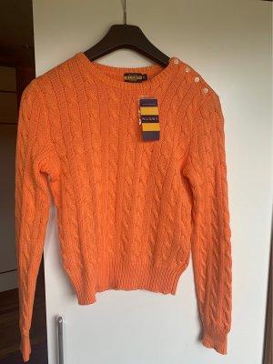 Ralph Lauren Warkoczowy sweter łosowiowy-pomarańczowy
