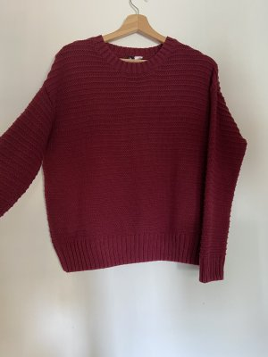 H&M Divided Knitted Sweater dark red-bordeaux