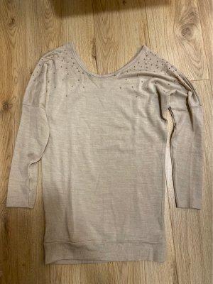 Polarowy sweter kremowy-złoto