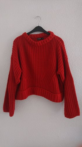 Takko Crochet Sweater red-dark red