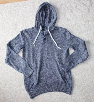 H&M Sweter z dzianiny szary niebieski-biały