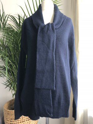 Pullover am Kragen zum binden | Blau