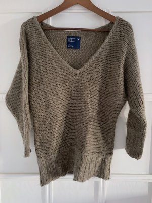 American Eagle Outfitters Pull col en V gris brun